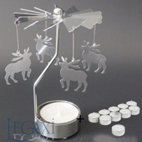 Chân đế nến quay tealight Eden Go Round Candle tuần lộc nhỏ tặng kèm 10 nến
