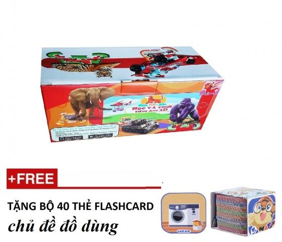 Ekidar bộ 96 thẻ 3D xếp hình - Tặng bộ 40 thẻ chủ đề đồ dùng