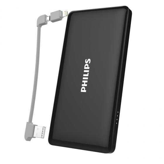 Pin dự phòng Philips DLP6101BK 10000mAh tích hợp cáp Micro USB + Lightning