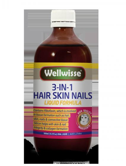 Nước uống làm đẹp tóc da móng tay Wellwisse Hair Skin Nails (500ml)