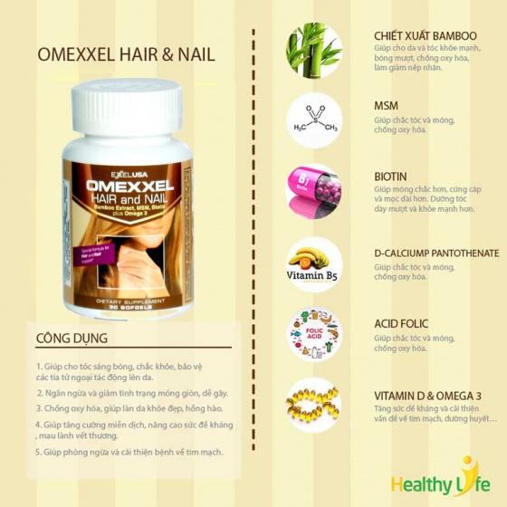 Viên uống ngăn rụng tóc và dưỡng móng Omexxel Hair/Nail (Lọ 30 viên) - Chính Hãng Hoa Kỳ