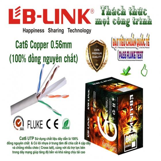 Cuộn dây mạng Cat 6 UTP Copper 8 lõi đồng nguyên chất  LB-LINK  dây màu trắng