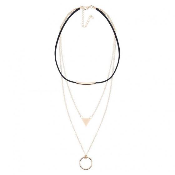Vòng cổ choker 3 tầng tam giác tròn -Tatiana - CD2395 (Vàng)