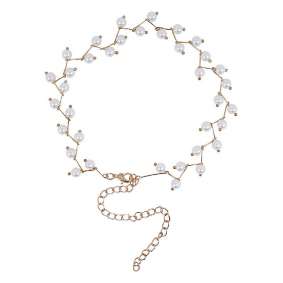 Vòng cổ choker zigzag mix pearl - Tatiana - CD1057(Vàng)