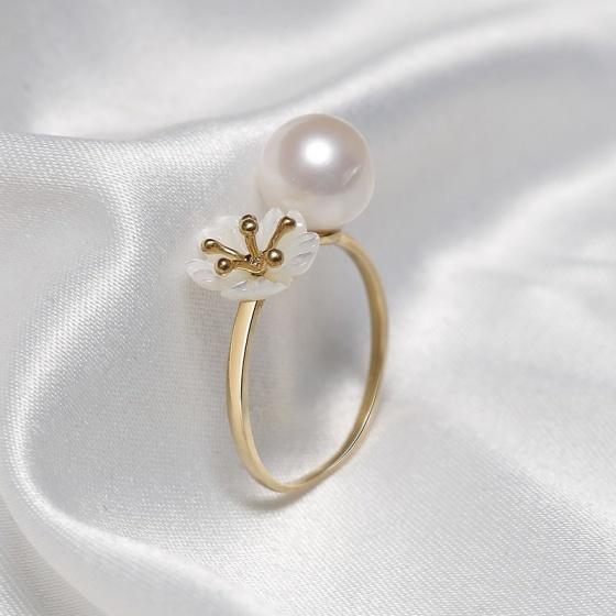 Nhẫn vàng 18k ngọc trai Bacite Freerl