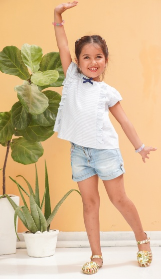Áo kiểu bé gái Ugether nơ cổ áo UKID191