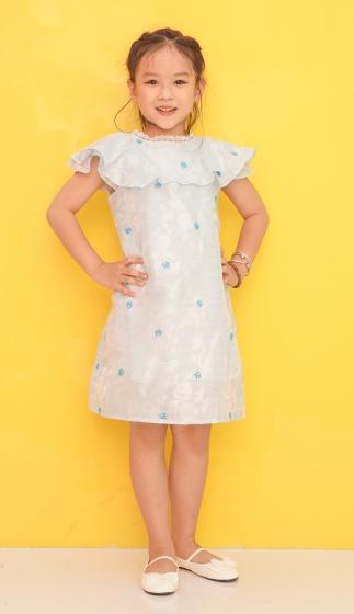 Đầm suông bé gái Ugether bèo phối ren cổ UKID199 (Xanh)