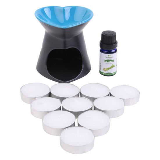 Combo đèn nến trái tim + tinh dầu sả chanh Lorganic (10ml) + 10 viên nến