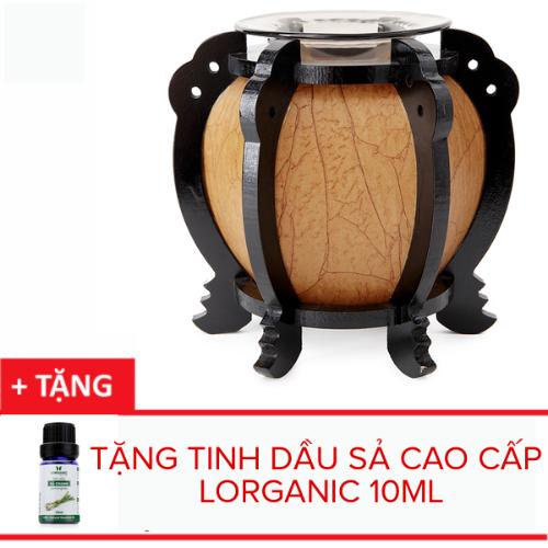 Đèn xông tinh dầu gỗ tròn Lorganic DX0425 + tặng 01 chai sả chanh 10ml