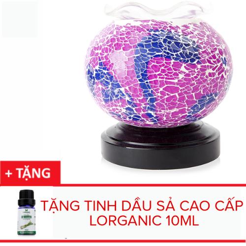 Đèn xông tinh dầu pha lê Lorganic MA6267 màu hồng tím + Tặng 01 chai sả chanh 10ml [QC-Vneshop]