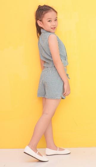 Set bộ áo croptop kèm quần short Ugether sọc caro UKID214