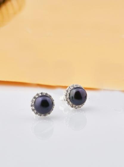 Opal - Hoa tai bạc đính ngọc trai đen_T09