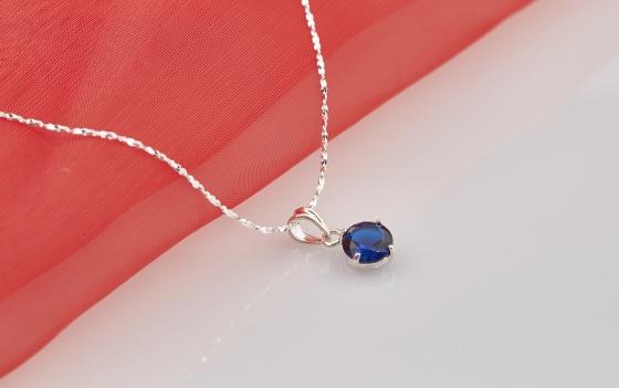 Opal - Dây chuyền bạc kèm mặt bạc đính đá xanh _T09