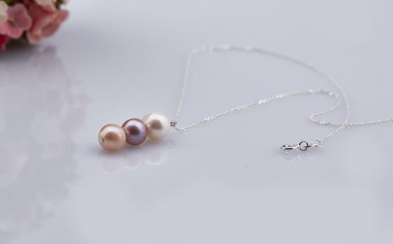 Opal - Dây chuyền bạc kèm mặt ngọc trai ba màu_T09