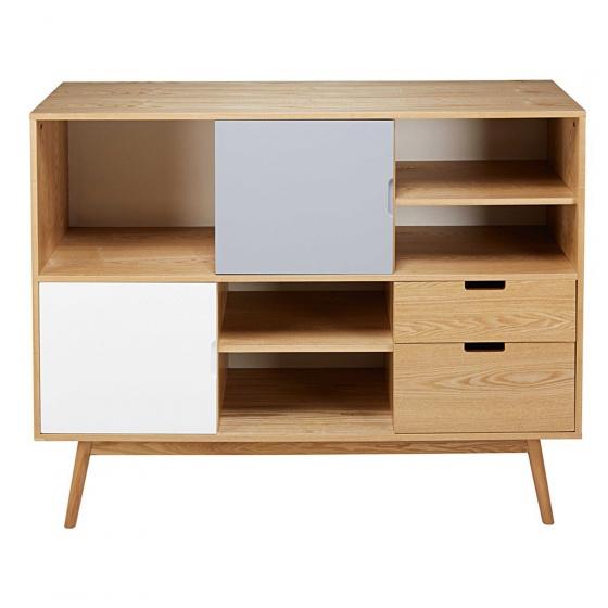 Tủ kệ trưng bày Senja Vintage gỗ tự nhiên (2 cánh, 2 ngăn) - Cozino