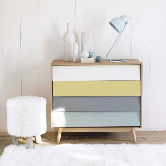 Tủ ngăn kéo Senja Vintage gỗ tự nhiên 4 ngăn nhiều màu - Cozino