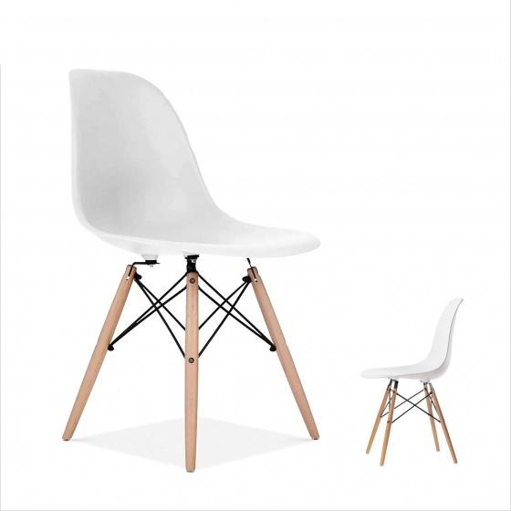 Ghế Eames chân gỗ DSW ( trắng )