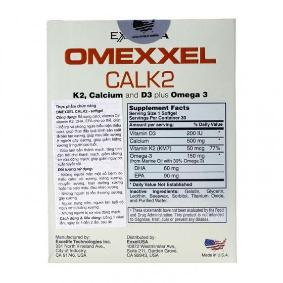 Viên uống bổ sung canxi Omexxel Calk2 (hộp 30 viên) - xuất xứ Mỹ + tặng 1 lọ dầu tràm con yêu 30ml