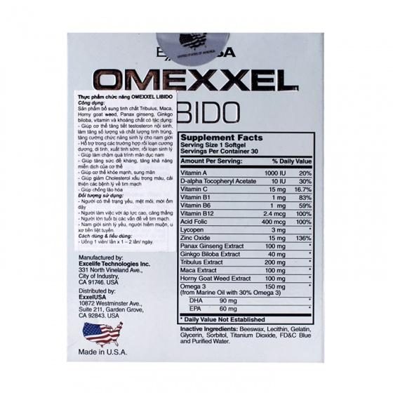Combo 2 hộp viên uống tăng cường sinh lý và sức khỏe nam giới Omexxel Libido (60v)0v)