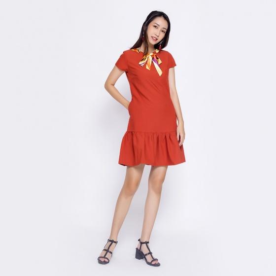 Đầm suông công sở thời trang Eden nơ cổ D315 (cam)