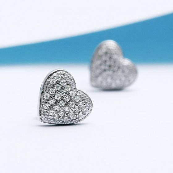 Bông tai bạc Simple Heart