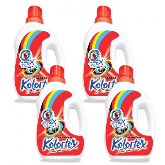 Bộ 4 chai nước giặt KOLORTEX® chống lem màu (1 lít/chai)