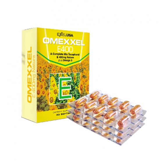 Bộ viên uống bổ sung Vitamin E-giảm thâm nám-ngăn rụng tóc Omexxel E400-Skin-Hair/nail (90 Viên) - Xuất xứ Mỹ