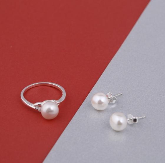 Opal - Nhẫn và hoa tai ngọc trai_T09