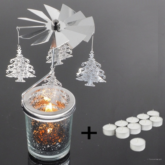Chân đế nến tealight Eden Go Round Candle cây thông lớn tặng kèm 10 nến