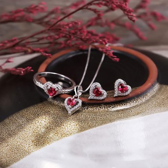 Bộ trang sức bạc Mina Heart