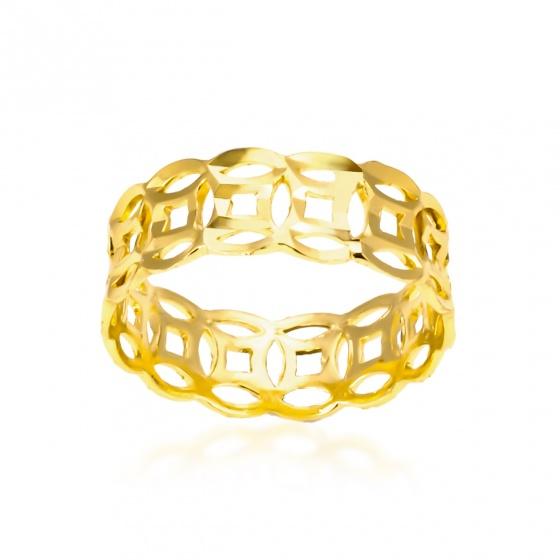 Nhẫn kim tiền 1 hàng khắc máy