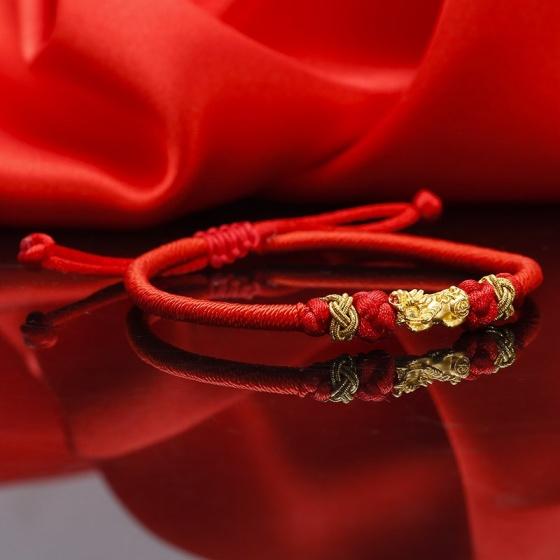 EROPI-Lắc tay tỳ hưu vàng 24k chỉ đỏ Pisi