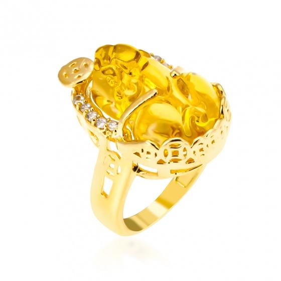 Nhẫn tỳ hưu đá vàng