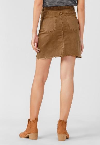 Váy jeans nữ Papka tua lai 4006 - Nâu