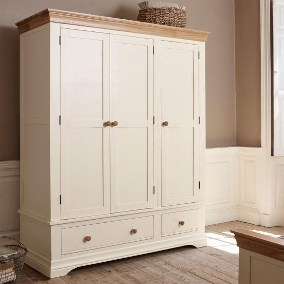 Tủ quần áo Canary 3 cánh 2 ngăn kéo gỗ sồi 1m4 - Cozino