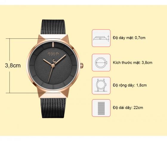 Đồng hồ nam JA-1104ME Julius Hàn Quốc dây thép - Đen