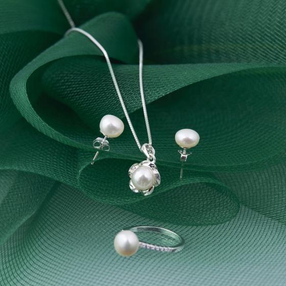 Opal - Bộ trang sức bạc và ngọc trai cao cấp _T10