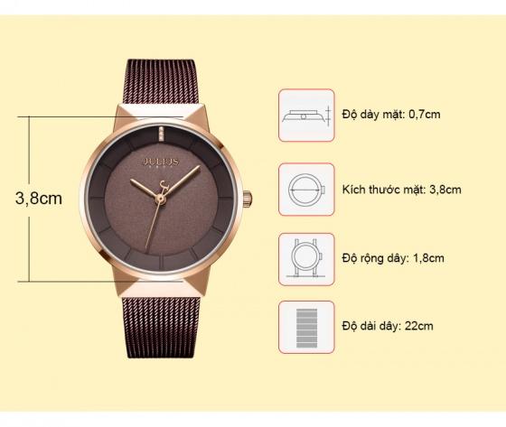 Đồng hồ nam JA-1104MD Julius Hàn Quốc dây thép - Nâu