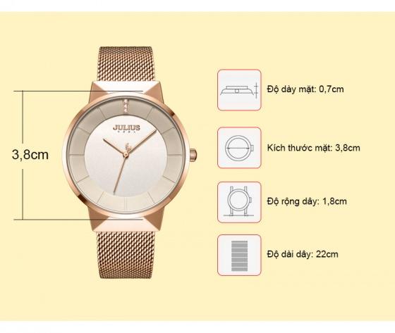 Đồng hồ nam JA-1104MC Julius Hàn Quốc dây thép - Đồng