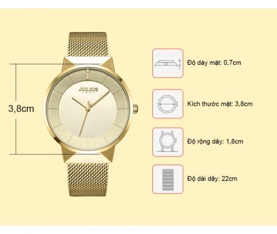 Đồng hồ nam JA-1104MB Julius Hàn Quốc dây thép - Vàng
