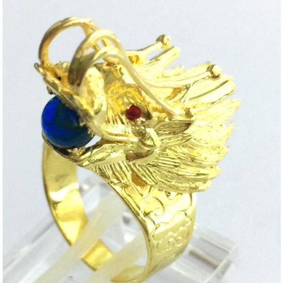 Nhẫn nam đầu rồng ngậm ngọc mạ vàng 18k - RM0956