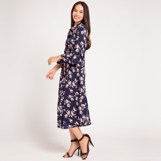 Đầm maxi sơ mi hoa floraw princess Hity DRE067 (hoa navy)