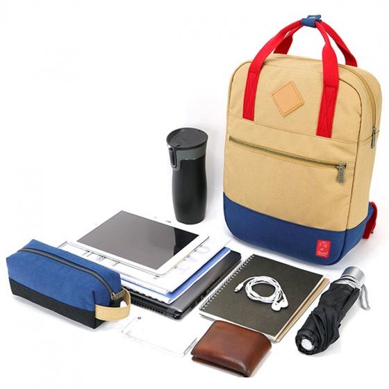 Balo canvas thời trang Glado GDP001 - Daypack Black (màu đen phối xanh) - tặng túi phụ kiện canvas