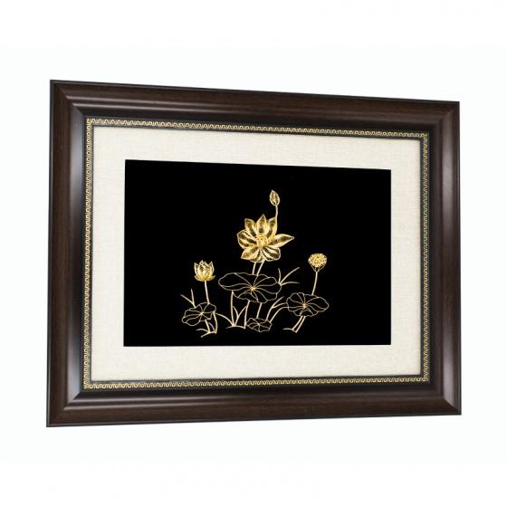 Tranh hoa sen mạ vàng 24K treo tường - THSMV03