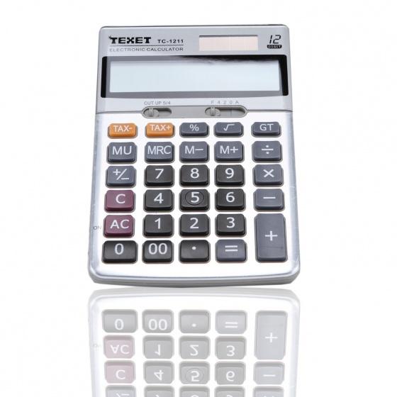 Combo 5 máy tính số (có Tax- và Tax+) sử dụng pin và năng lượng mặt trời Texet TC-1211