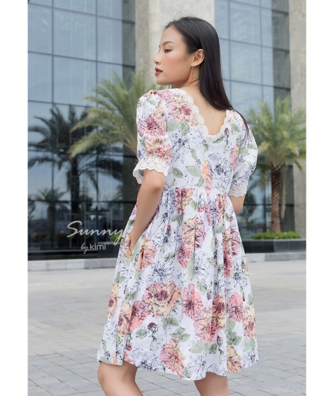 Đầm hoa tay bồng-AD180089