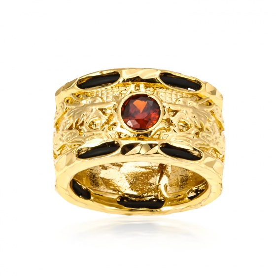 Nhẫn rồng vác hai hàng lông - đỏ