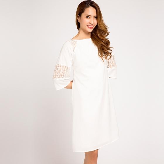 Đầm suông phối ren lacy Hity DRE068 (trắng kim cương)