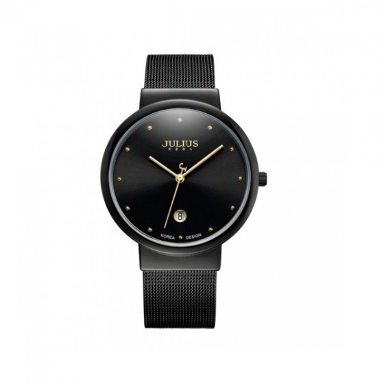 Đồng hồ nam Julius Hàn Quốc dây thép JA-426ME đen