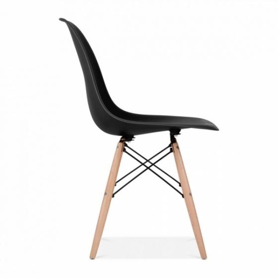 Bộ bàn làm việc CZN-Havant gỗ tự nhiên sơn đen chân trắng và ghế eames đen- COZINO